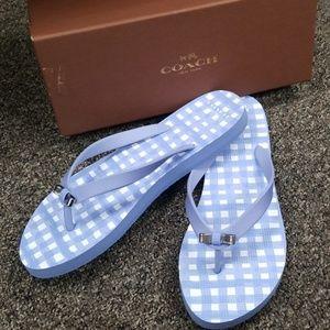 Coach size 9 sandals light blue flops